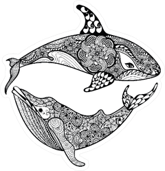Zentangle Whales Sticker