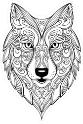 Zentangle Wolf Doodle Sticker