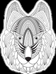 Zentangle Wolf Face Sticker