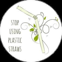 Leaves Stop Using Plastic Straws Sticker