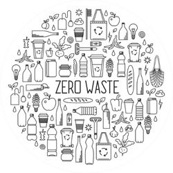 Zero Waste Monochrome Sticker