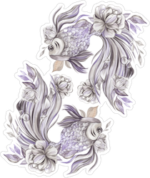 Zodiac Pisces With Flowers Sticker