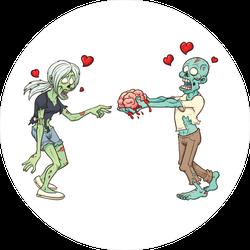 Zombie Couple In Love Sticker