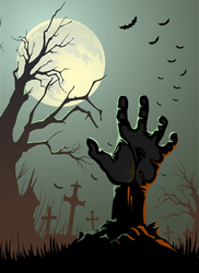 Zombie Hand Reaching Up From Grave Sticker