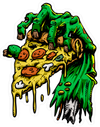 Zombie Hand With Pizza Sticker