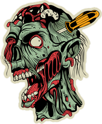 Zombie Head With Screwdriver Sticker