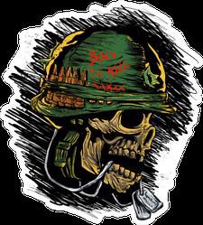 Zombie With Military Helmet Sticker