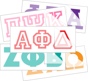 Something Greek Letter Generator.Greek Letter Stickers Fraternity Sorority Car Decals