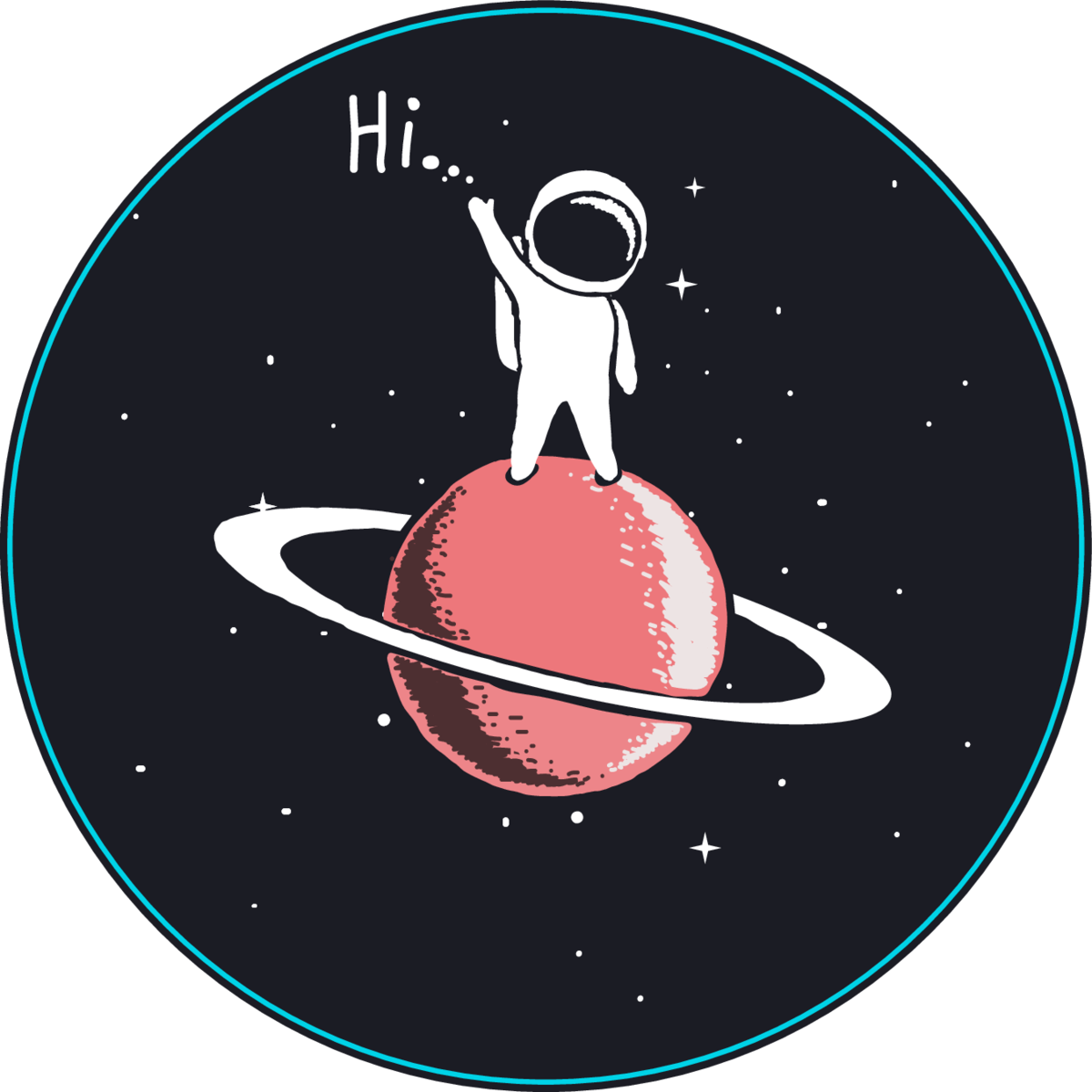 Baby Astronaut Says Hi From Saturn Sticker