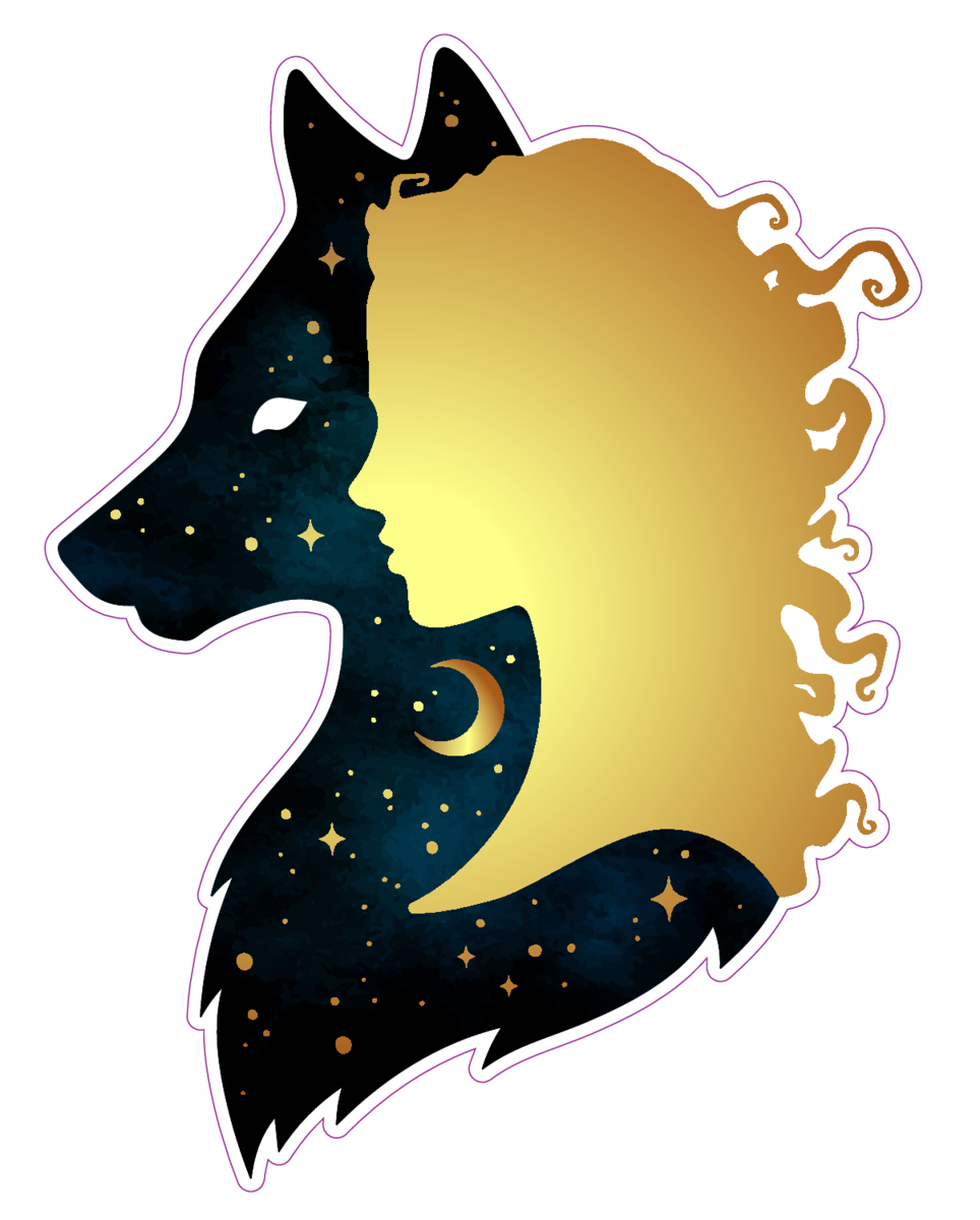 Top 9 Best Derpy Animal Stickers 2019: Gold Woman And Space Wolf Silhouettes Sticker