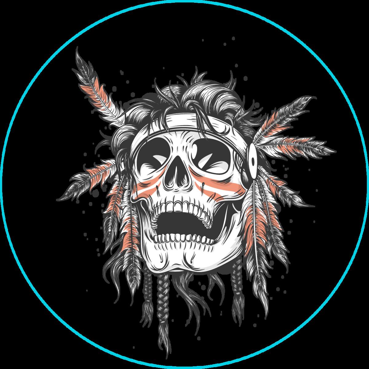 Skull Of An Indian Warrior Sticker