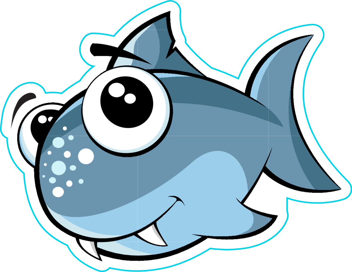 Cute Baby Shark Fish Sticker