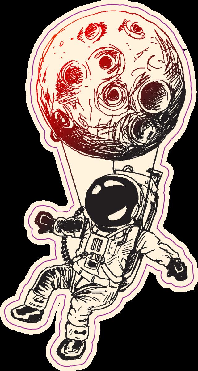 Astronaut Moon Balloon Sticker