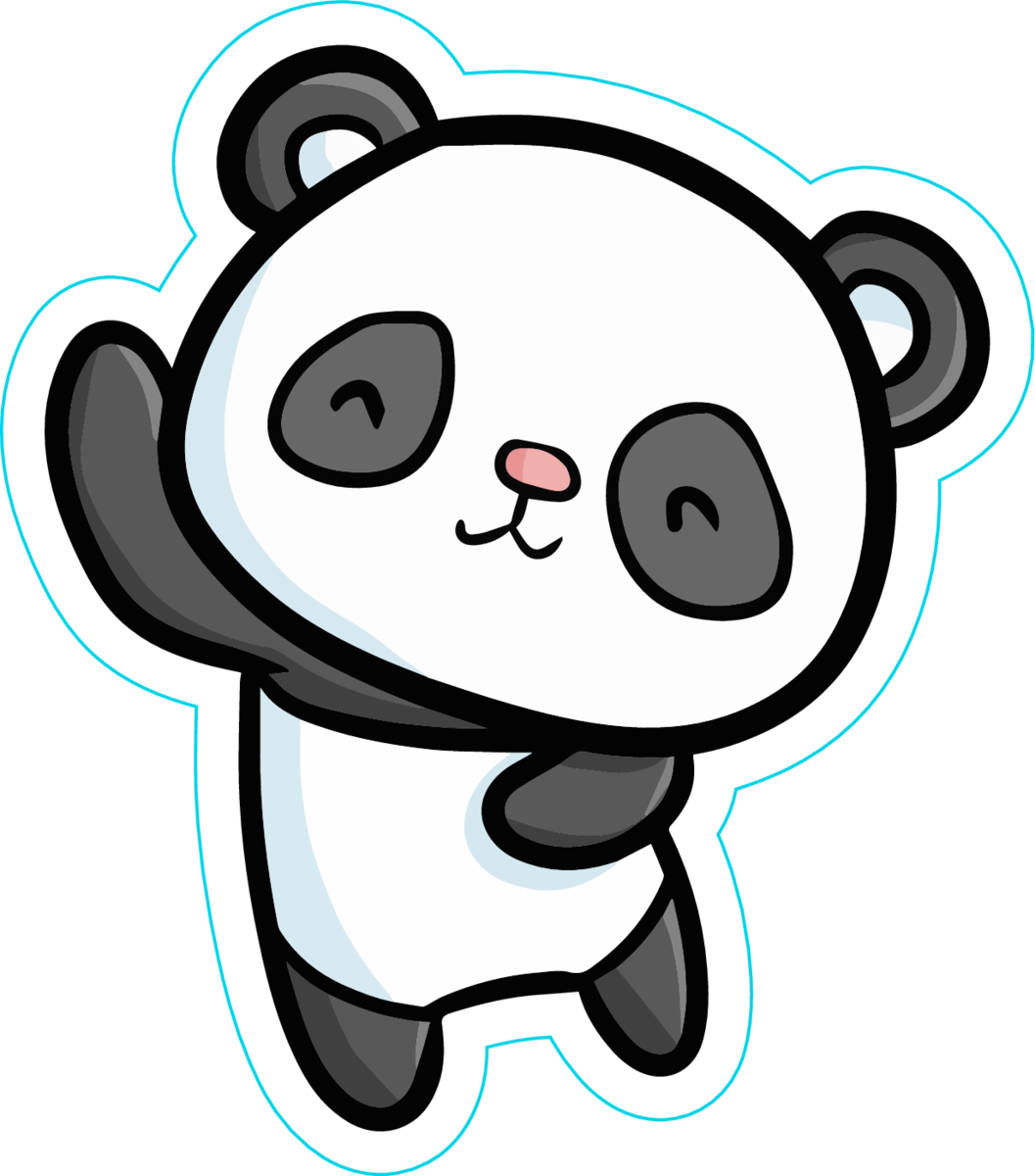 Cute dancing panda sticker