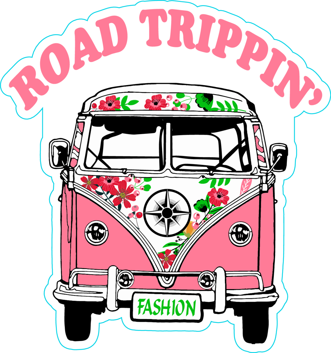 Road trippin pink hippie van sticker
