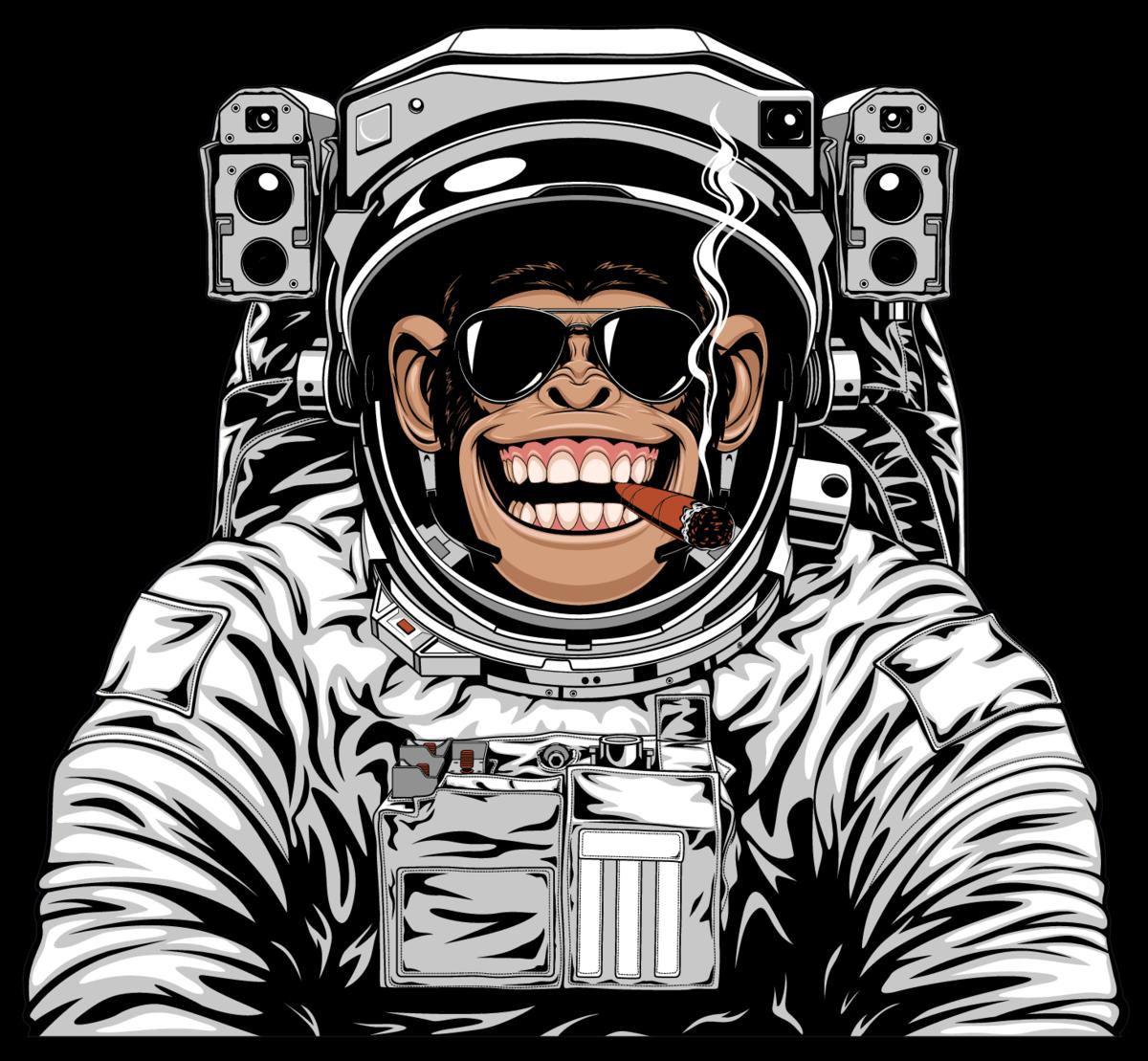 Smoking Chimpanzee Astronaut Sticker