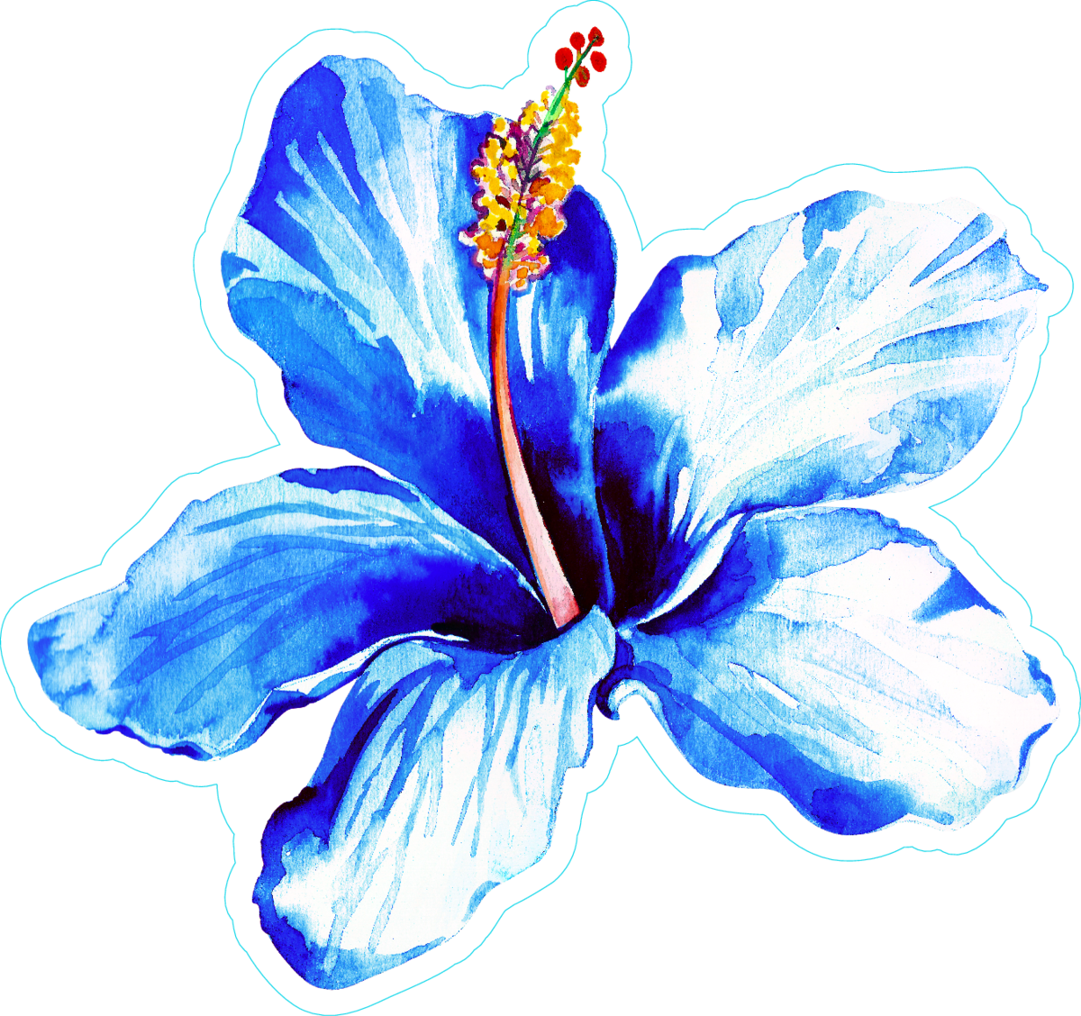 Exotic Blue Hibiscus Watercolor Sticker