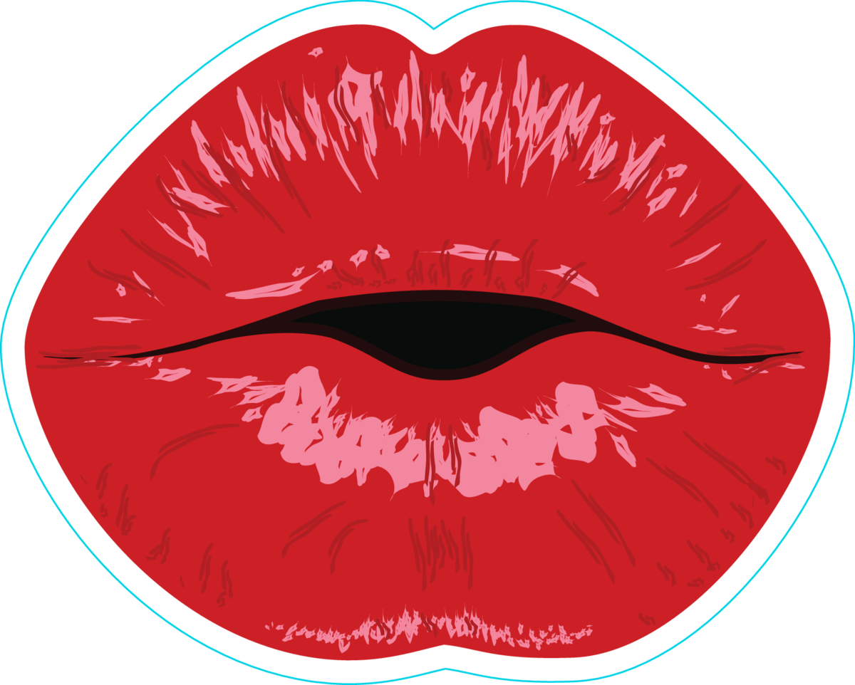 Beautiful puckering lips sticker