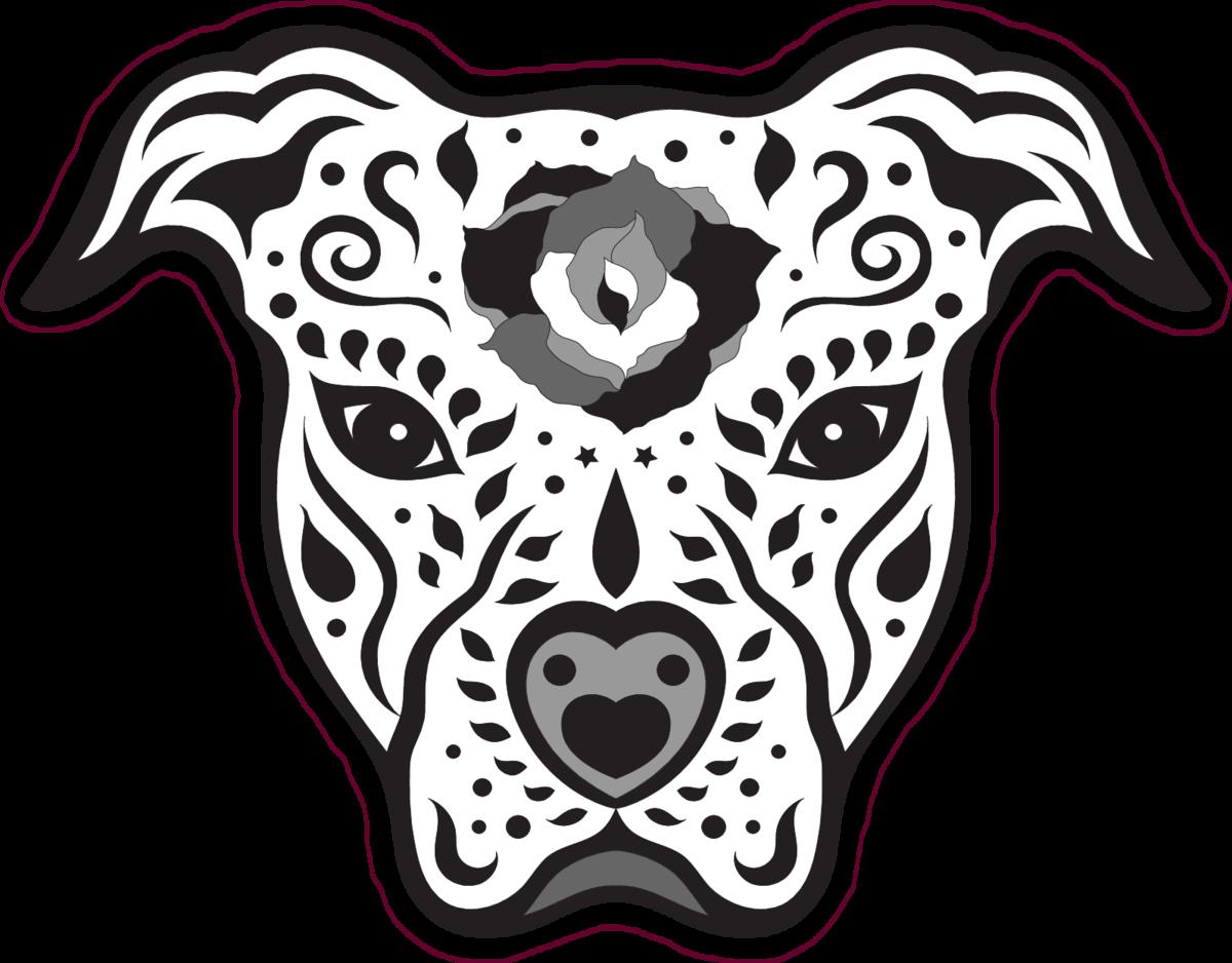Pitbull sugar skull sticker