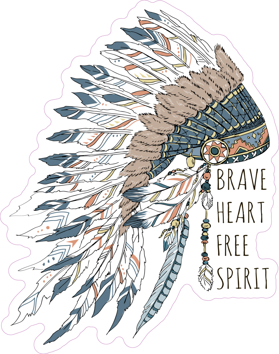 Brave Heart Free Spirit Native American Headdress Sticker