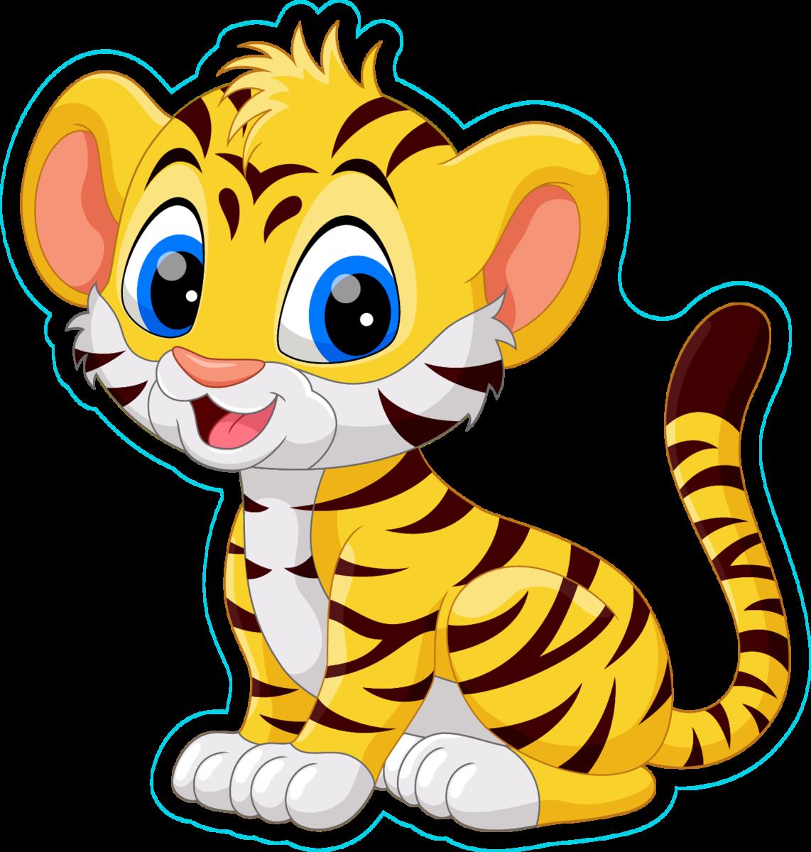 Cute Baby Tiger Cartoon Sticker