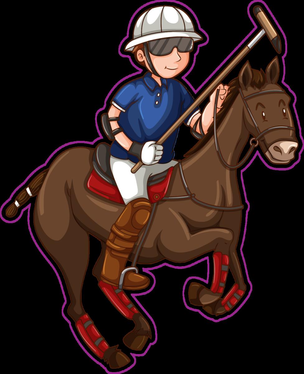Cartoon Man On Horse Playing Polo Sticker