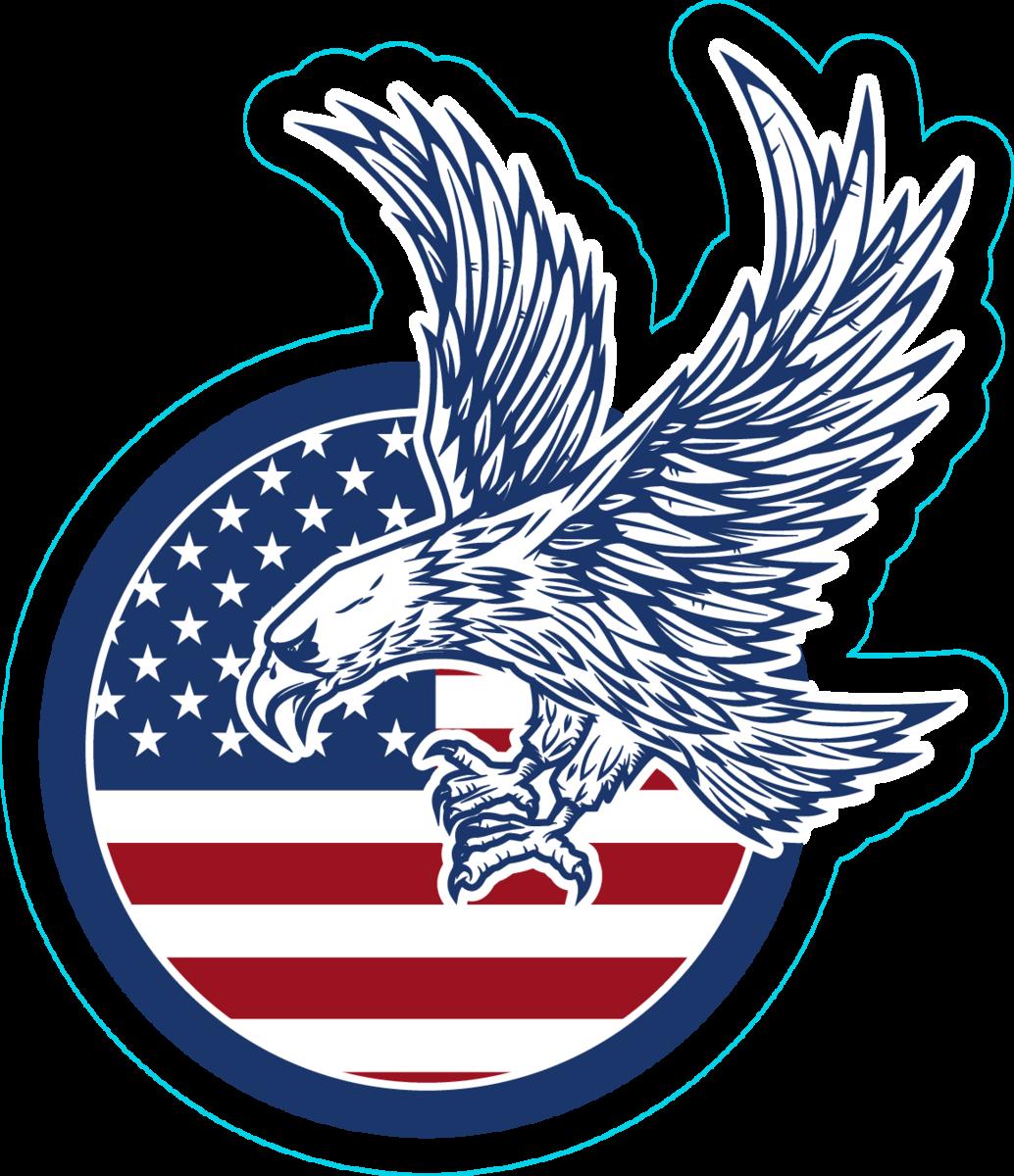 Eagle Soaring On American Flag Sticker