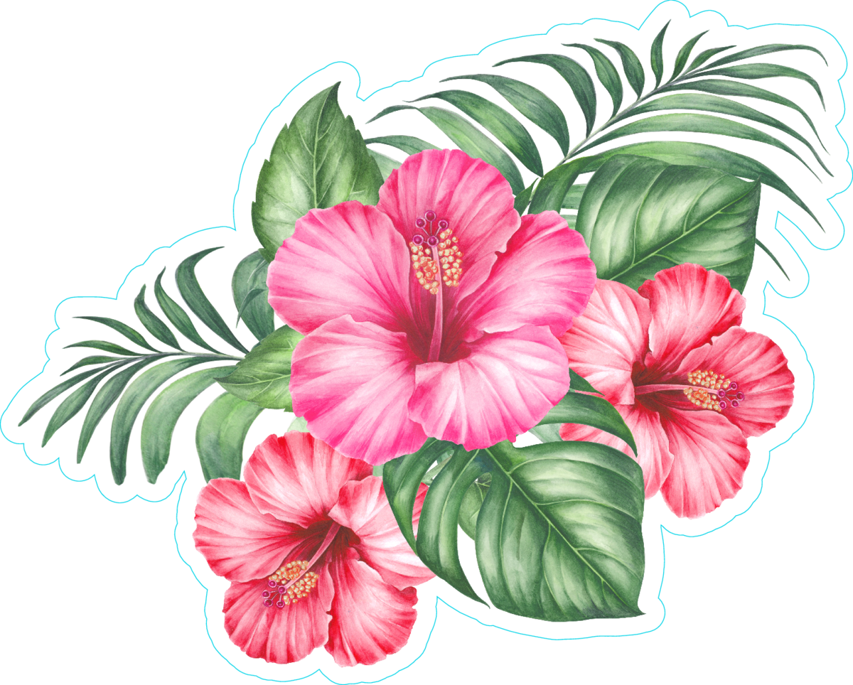 Red Hibiscus Flowers And Palm Tree Leaves Sticker