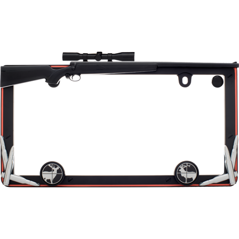Hunting Rifle With Bullets License Plate Frame