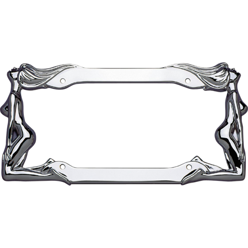 Twin Naked Ladies Chrome License Plate Frame