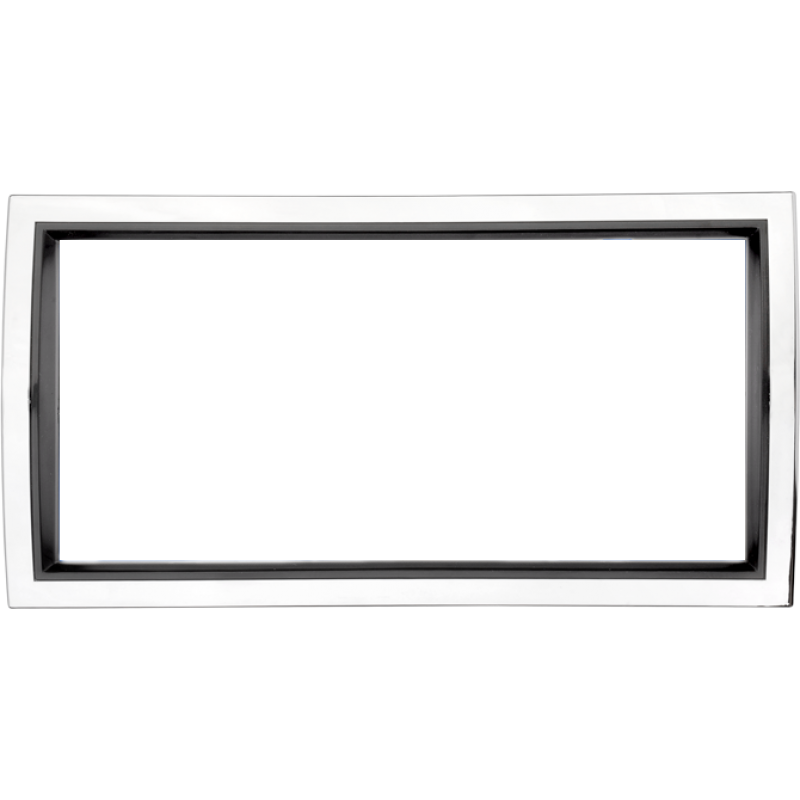 Curved Chrome and Black Plastic License Plate Frame
