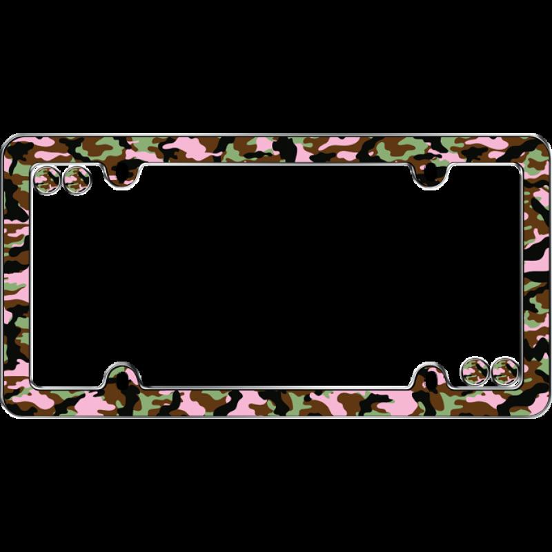 Pink Camo Girl Plastic License Plate Frame