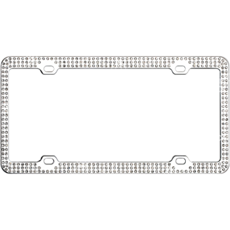 Chrome Coated Metal With Triple Row White Diamonds License Plate Frame