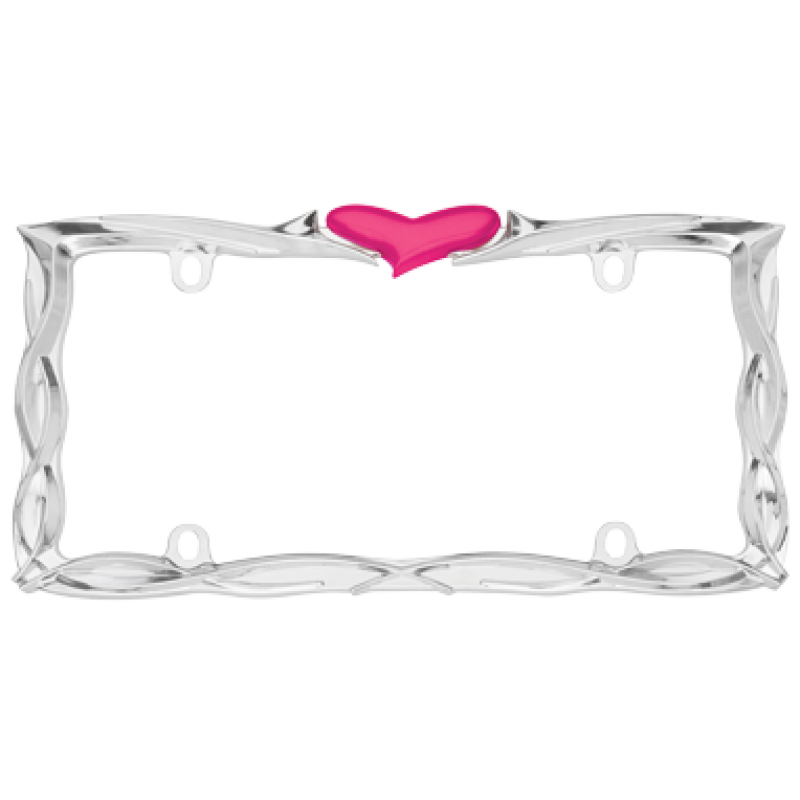 Pink Heart chrome License Plate Frame