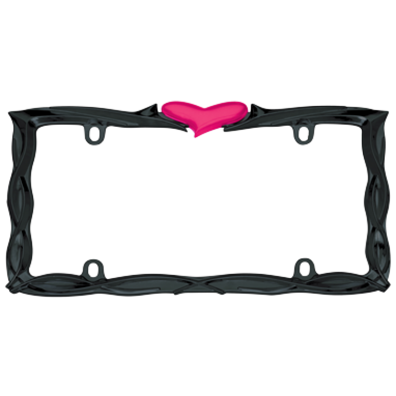 Pink Heart Glossy Black Metal License Plate Frame
