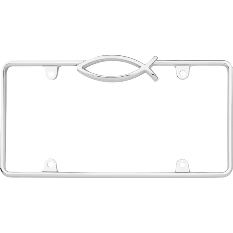 Ichthus Fish Chrome License Plate Frame