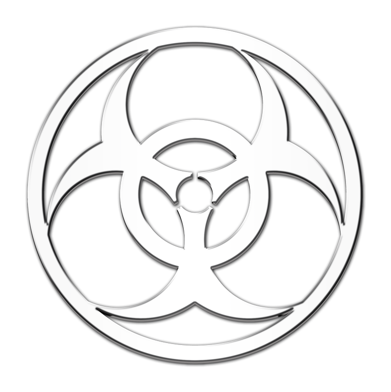 Biohazard Symbol 3D Chrome Plated Sticker