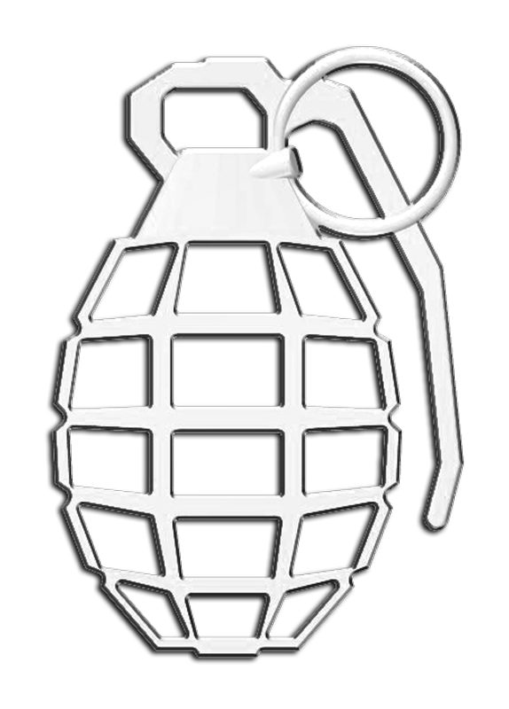 Grenade 3D Chrome Plated Sticker