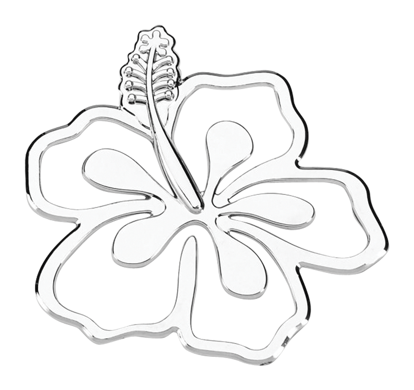Hibiscus Flower 3D Chrome Plated Sticker