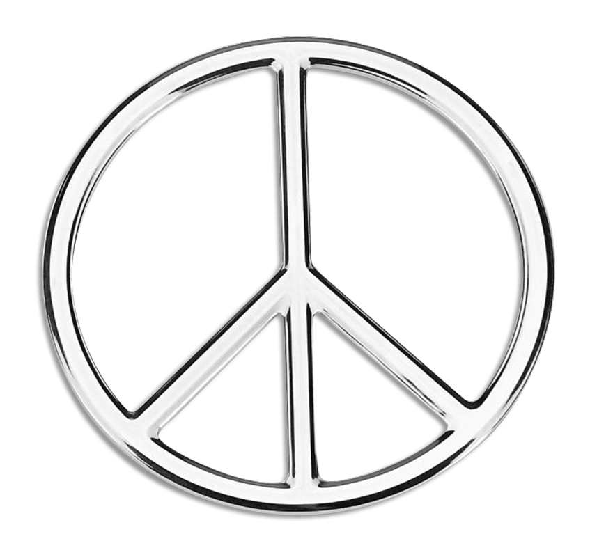 Peace 3D Chrome Plated Sticker