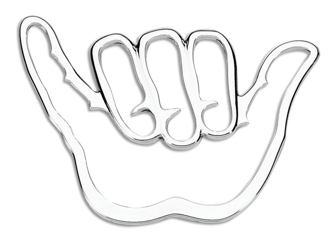 Shaka Hang Loose 3D Chrome Plated Sticker