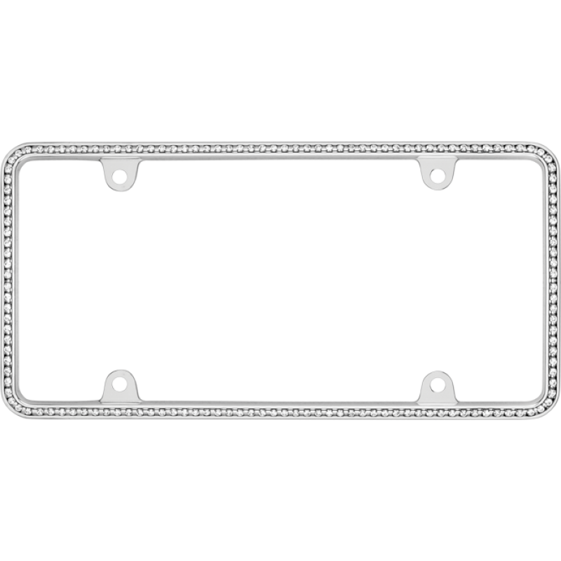 Thin White Diamonds on Chrome License Plate Frame