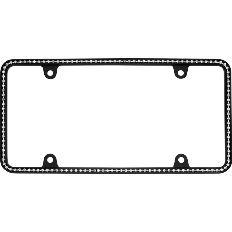 Thin White Diamonds on Matte Black License Plate Frame