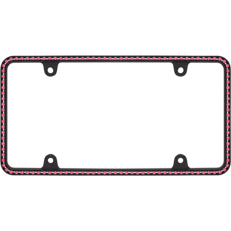 Thin Pink Diamonds on Matte Black License Plate Frame