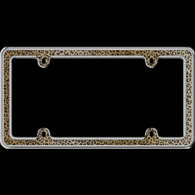 Sparkling Leopard Glitter License Plate Frame