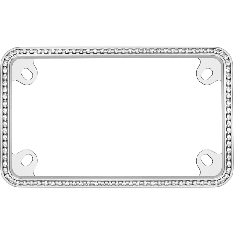 Thin White Diamonds on Chrome Motorcycle License Plate Frame