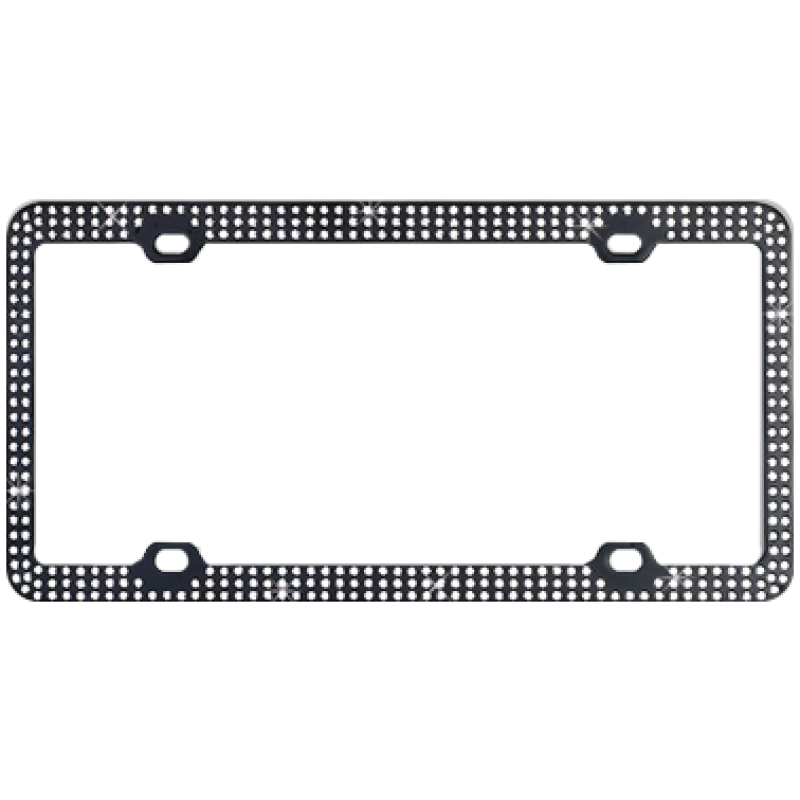 Black Metal With Triple Row White Diamonds Bling License Plate Frame