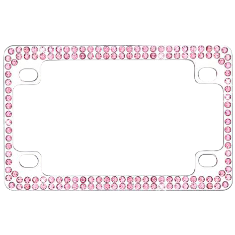 Metal Motorcycle Frame with Double Row Pink Crystals