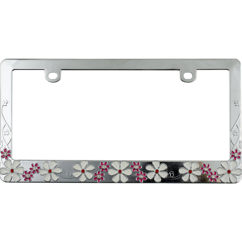 Chrome Plated White and Pink Daisy Bling Frame