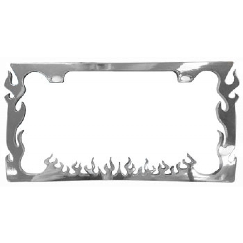 Flames Chrome Plastic License Plate Frame